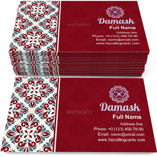 Sample of Nostalgia Damask cover calling card design for advertisements marketing ideas and promote vintage style branding identity