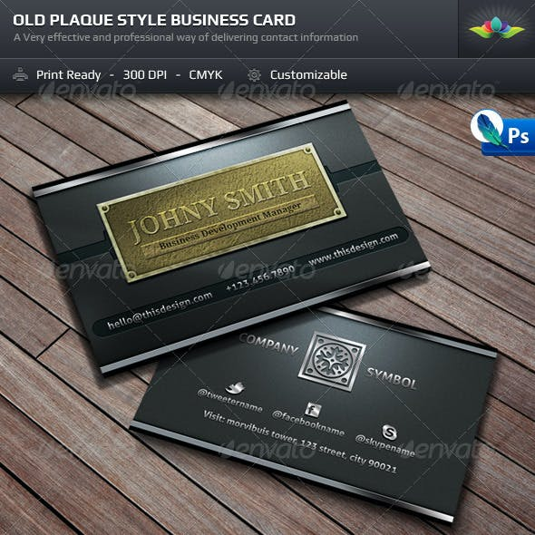 Old Style Plaque Business Card Template Free Download