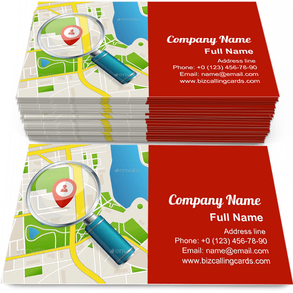 Sample of Paper Map calling card design for advertisements marketing ideas and promote navigation branding identity