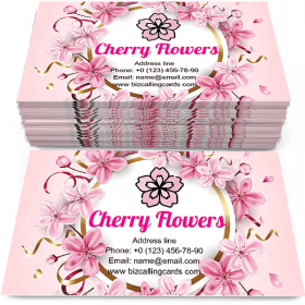 Pink Cherry Flowers Business Card Template