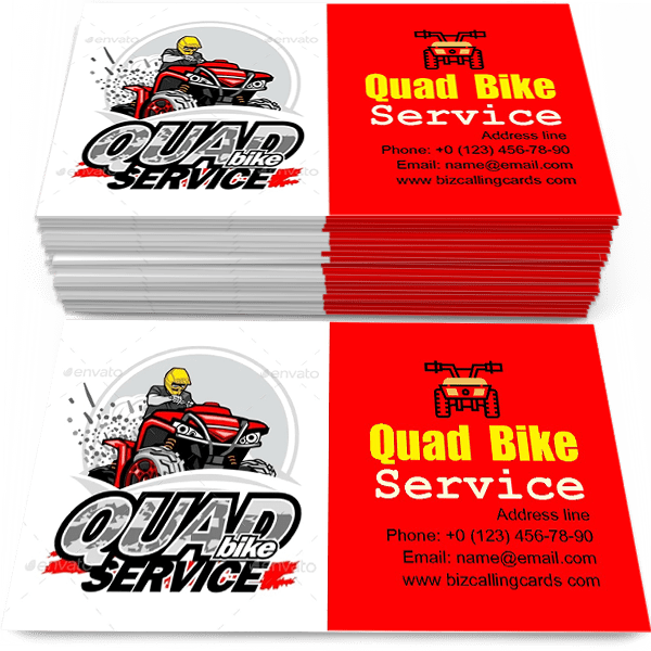 Sample of Quad Bike Service calling card design for advertisements marketing ideas and promote motorsport activities branding identity