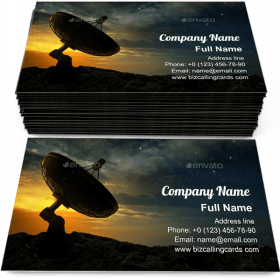 Radio telescope at sunset Business Card Template