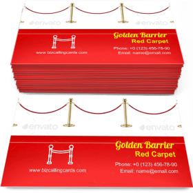 Red Carpet and Golden Barrier Business Card Template