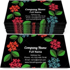 Red and blue flowers Business Card Template