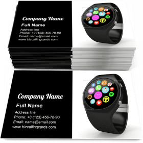 Round smart watch Business Card Template