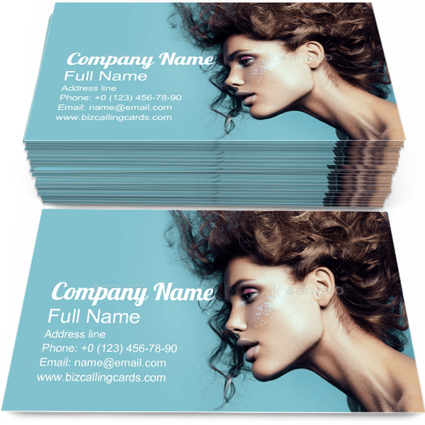 Sample of Woman Portrait calling card design for advertisements marketing ideas and promote Beautiful branding identity
