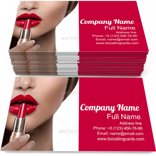 Sample of Lipstick calling card design for advertisements marketing ideas and promote glamor branding identity