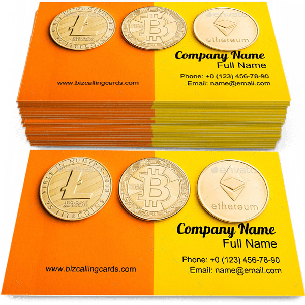 Sample of Cryptocurrencies calling card design for advertisements marketing ideas and promote Bitcoin, ethereum and litecoin branding identity