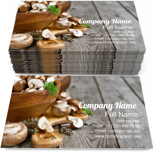Sample of Champignon calling card design for advertisements marketing ideas and promote Mushrooms branding identity