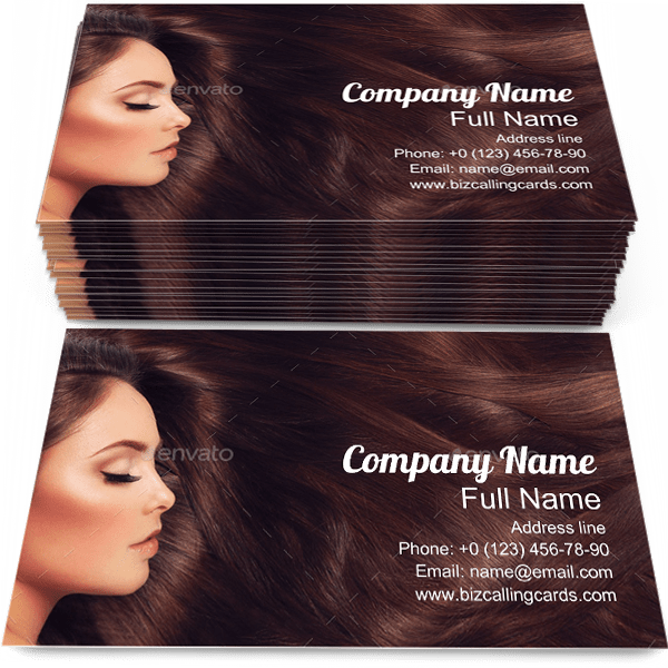 Sample of Long Hair calling card design for advertisements marketing ideas and promote haircare branding identity
