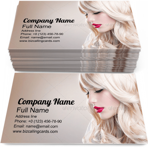 Sample of Long Wavy Hair calling card design for advertisements marketing ideas and promote hairstyling branding identity