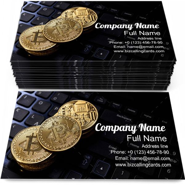 Sample of Golden BTC calling card design for advertisements marketing ideas and promote cryptocurrency branding identity