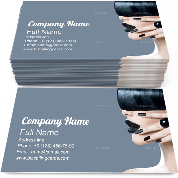 Sample of High Fashion calling card design for advertisements marketing ideas and promote hairstyling branding identity