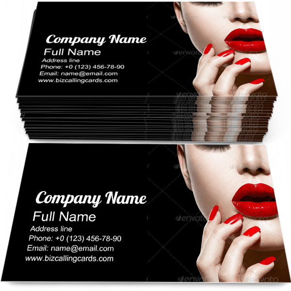 Sample of Lips and Nails calling card design for advertisements marketing ideas and promote Sexy branding identity