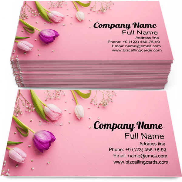 Sample of Pink Flowers calling card design for advertisements marketing ideas and promote Romantic branding identity