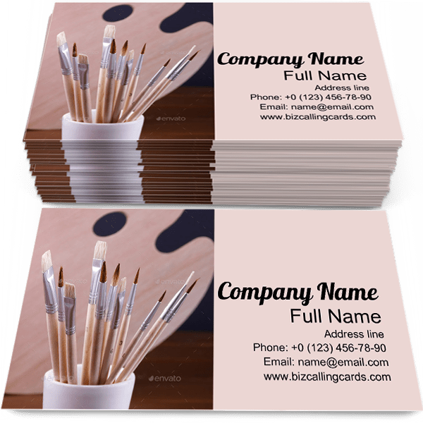 Sample of Brushes calling card design for advertisements marketing ideas and promote Painting branding identity