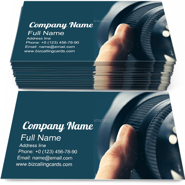 Sample of Camera Zoom calling card design for advertisements marketing ideas and promote photographic branding identity