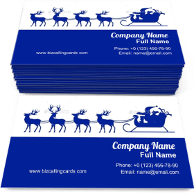 Santa Claus with Reindeer Business Card Template
