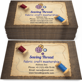 Sewing thread on wooden Business Card Template