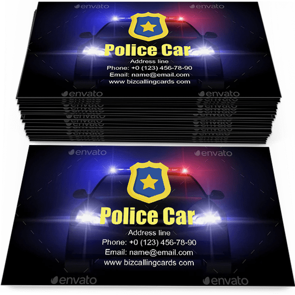 Sample of Sheriff Police Car calling card design for advertisements marketing ideas and promote protection traffic patrol branding identity