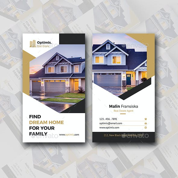 Vertical Real Estate Business Card Free Download