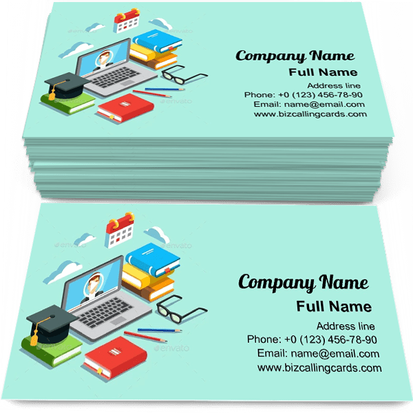 Sample of Video instruction calling card design for advertisements marketing ideas and promote Online Education branding identity