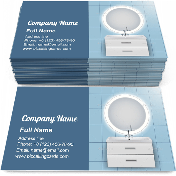 Sample of Washbasin Cabinet with Mirror calling card design for advertisements marketing ideas and promote bathroom Interior branding identity
