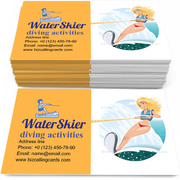 Sample of WaterSkier Girl calling card design for advertisements marketing ideas and promote diving activities branding identity