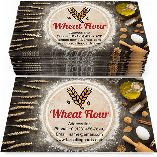 Sample of Wheat flour calling card design for advertisements marketing ideas and promote bread shop branding identity