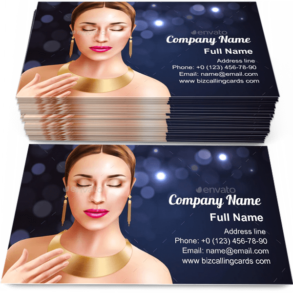 Sample of Woman And Jewelry calling card design for advertisements marketing ideas and promote jewel shop branding identity
