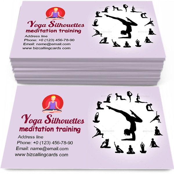 Sample of Yoga Silhouettes calling card design for advertisements marketing ideas and promote meditation training branding identity