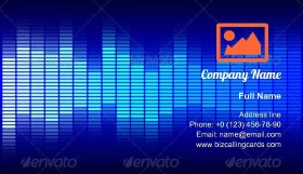 Blue Graphic Equalizer Business Card Template