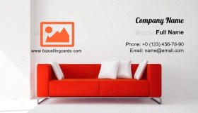 Red square sofa Business Card Template