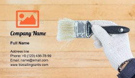 Holding brush paints Business Card Template
