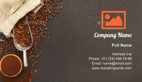 Coffee beans scattering Business Card Template