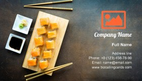 Salmon fish meat Business Card Template