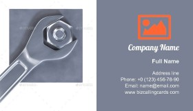 Hexagon nut with a wrench Business Card Template
