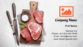 Raw beef steaks Business Card Template