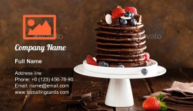 Stack of chocolate pancakes Business Card Template