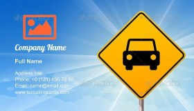 Car Roadsign Business Card Template
