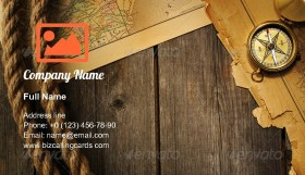 Antique compass and rope Business Card Template