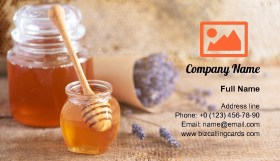 Herbal honey with lavender flowers Business Card Template
