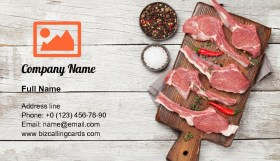 Raw rack of lamb Business Card Template