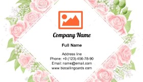 Pink Cream Rose Business Card Template