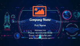 Graphic of spaceship interface Business Card Template