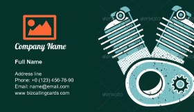 Motor cycle engine Business Card Template