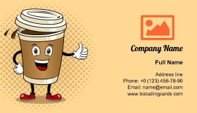 Coffee Cup Thumb Up Business Card Template