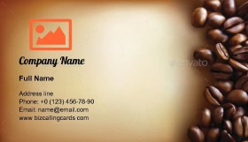 Coffee Beans and Old Paper Business Card Template