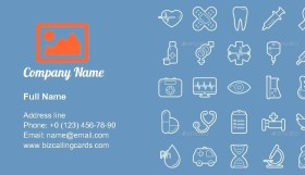 Medical Lines Icon Set Business Card Template