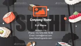 Japanese seafood restaurant Business Card Template